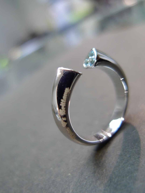 Blue Topaz and Peridot Wedding Ring