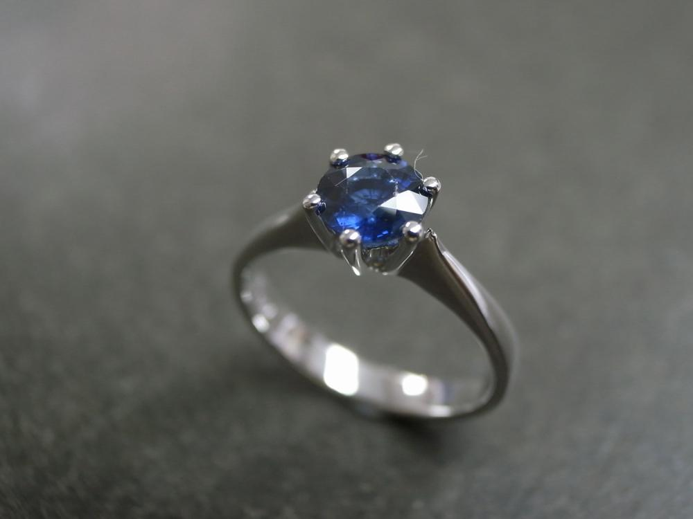 Blue Sapphire Engagement Ring in 14K White Gold