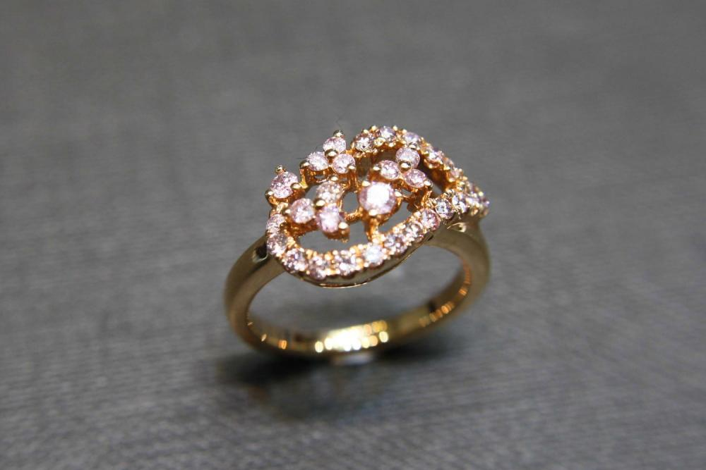 Pink Sapphire Wedding Ring in 14K Rose Gold