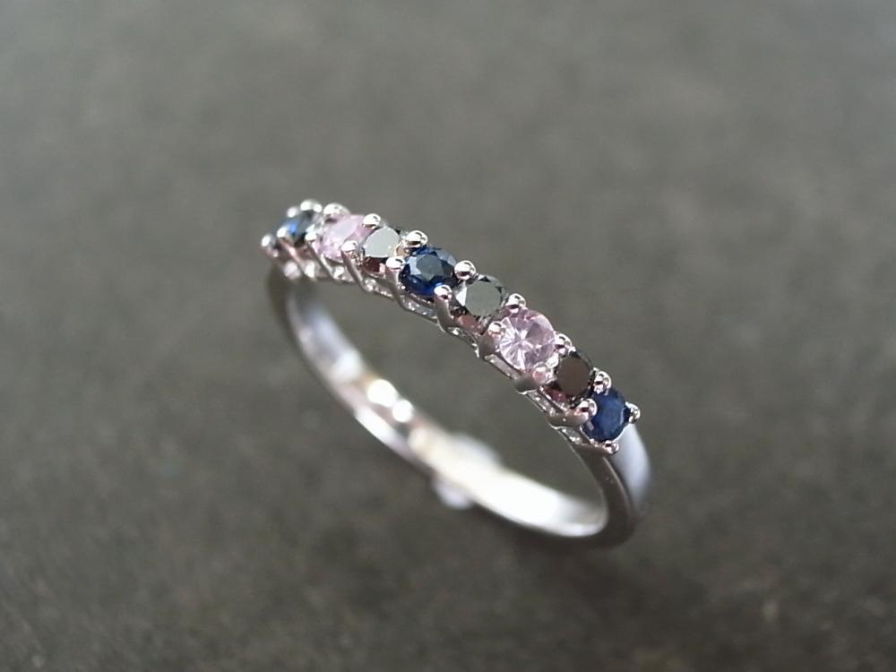 Black Diamond and Blue Sapphire and Pink Sapphire Ring in 14K White Gold