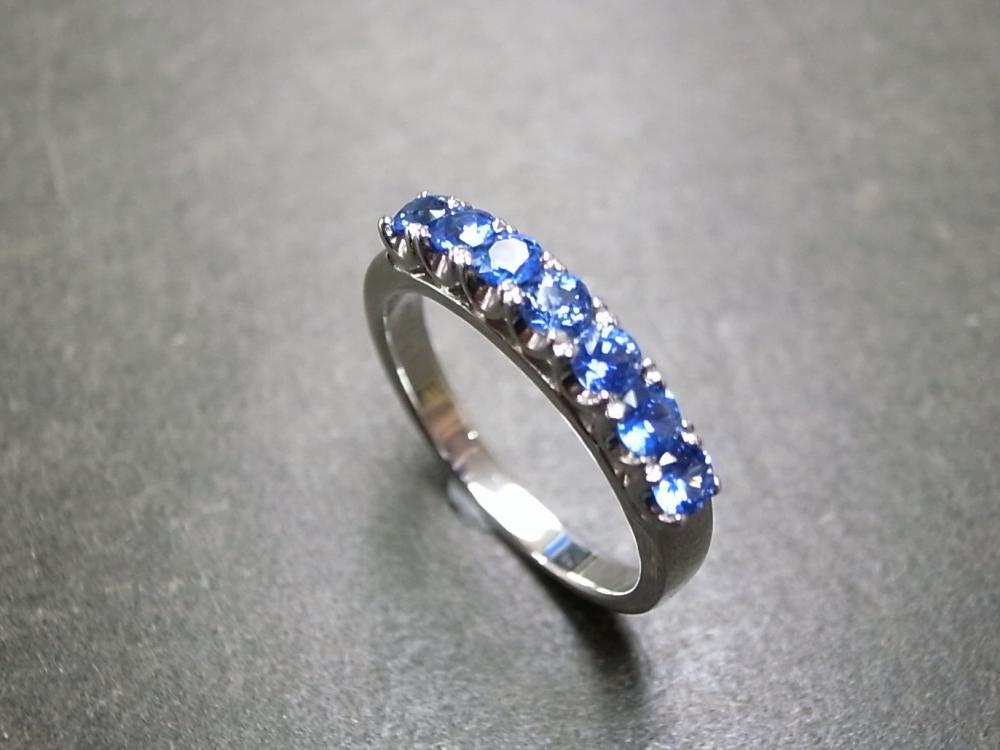 Blue Sapphire Wedding Ring in 18K White Gold