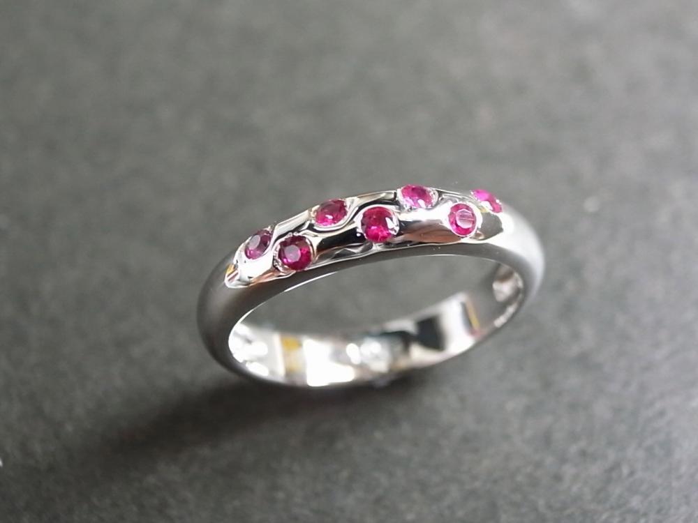 Ruby Wedding Ring in 14K White Gold