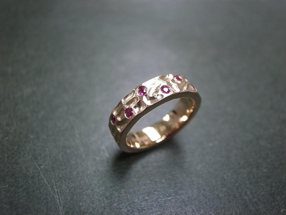 6mm Ruby Wedding Ring in 14K Rose Gold
