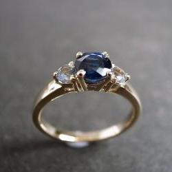Blue Sapphire and White Sapphire Engagement Ring