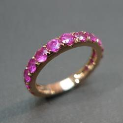Pink Sapphire Wedding Band Ring in 18K Rose Gold