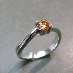 Citrine Engagement Ring in 14K White Gold