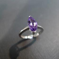 Marquise Amethyst Engagement Ring in 14K White Gold
