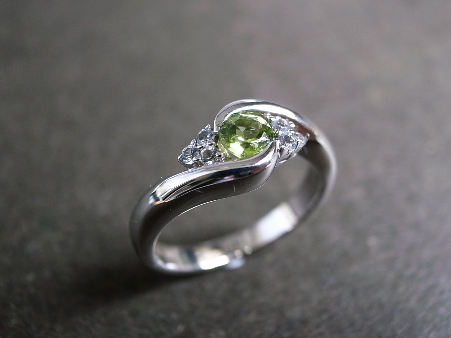 Wedding Ring With Green Shire In 14k White Gold On Luulla