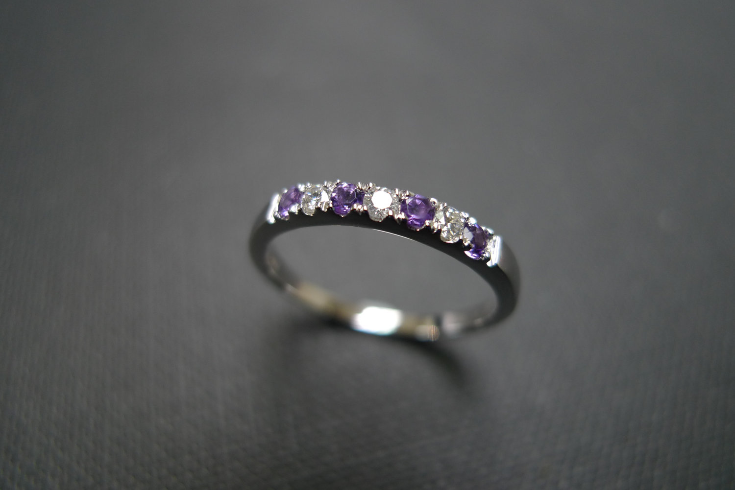 diamond wedding ring with amethyst in 14k white gold - Amethyst Wedding Ring