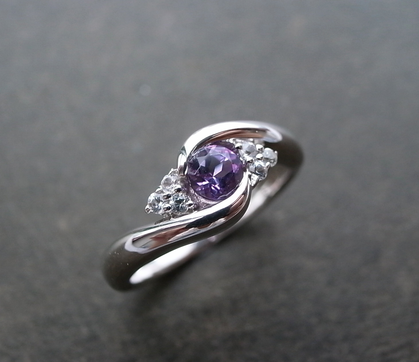 wedding ring with amethyst and white sapphire in 14k white gold - Amethyst Wedding Rings